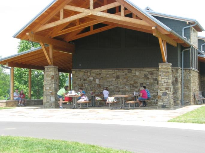 Families sitting at picnic tables under pavilion