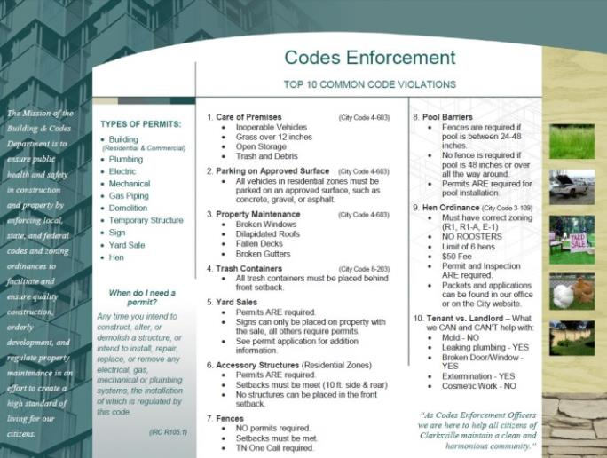 Codes Enforcement Top 10 Common Code Violations